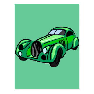 Automóvil descubierto verde tarjeta postal