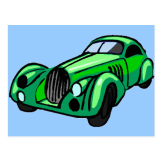 Automóvil descubierto verde tarjetas postales