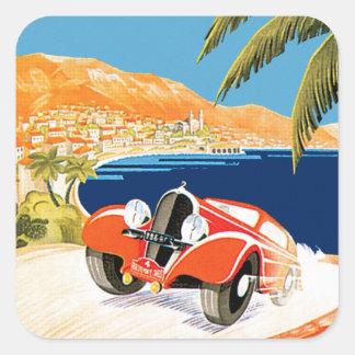 Automóvil Monte Carlo de Rallye Pegatina Cuadrada