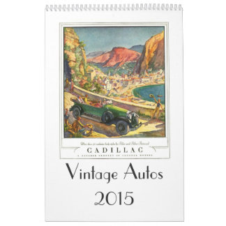 Automóviles 2015 del vintage calendario