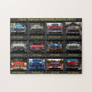 Automóviles americanos clásicos a partir de los rompecabeza con fotos
