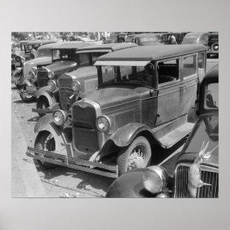 Automóviles en la calle principal, 1941. Foto del Póster