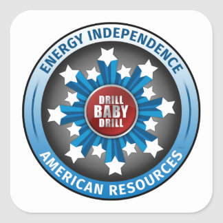 Autonomía energética americana calcomanías cuadradas