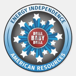 Autonomía energética americana etiqueta redonda