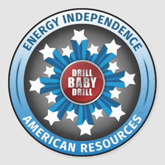 Autonomía energética americana pegatina redonda