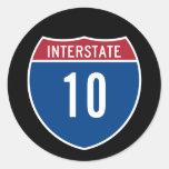 Autopista 10 pegatina redonda
