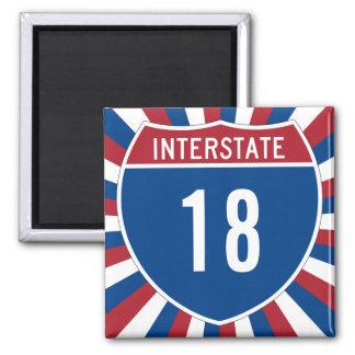 Autopista 18 imán cuadrado