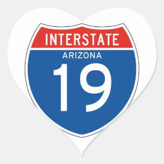 Autopista 19 - Arizona Pegatina En Forma De Corazón