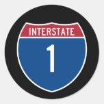 Autopista 1 etiqueta redonda