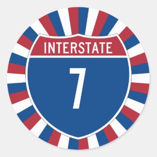 Autopista 7 pegatina redonda