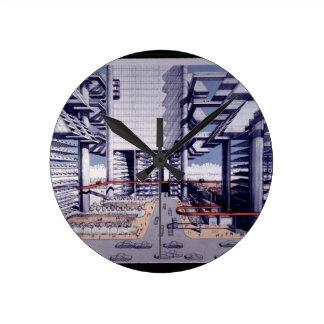 Autopista del Lower Manhattan de LOMEX Reloj Redondo Mediano