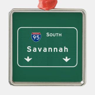 Autopista sin peaje de la carretera nacional de adorno navideño cuadrado de metal