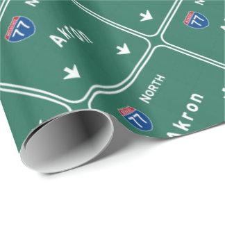 Autopista sin peaje de la carretera nacional de papel de regalo