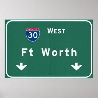 Autopista sin peaje de la carretera nacional del póster