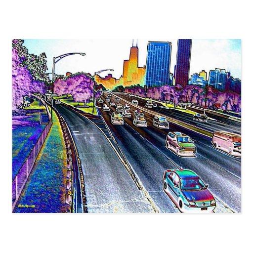 Autopista sin peaje que conduce en hoja coloreada postal