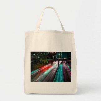 Autopista sin peaje roja del verde azul y de la bolsa tela para la compra