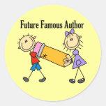 Autor famoso del futuro pegatina redonda