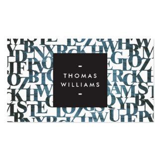 Autores abstractos de madera azules de tarjeta de visita