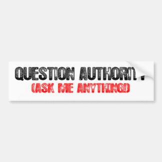 Autoridad de la pregunta pegatina para auto