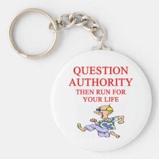 autoridad de la pregunta llavero redondo tipo pin