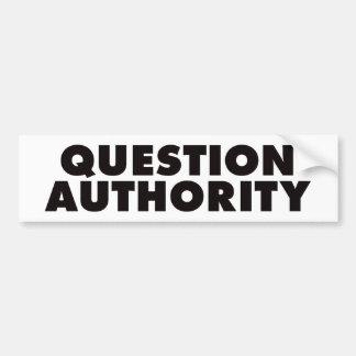 Autoridad de la pregunta - negro pegatina para auto