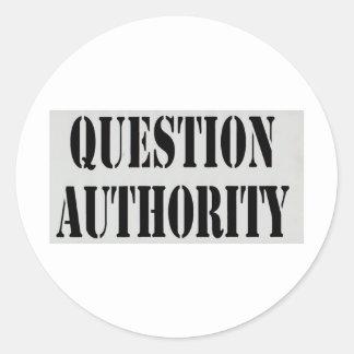Autoridad de la pregunta pegatinas redondas
