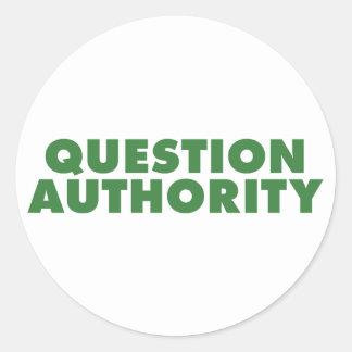 Autoridad de la pregunta - verde pegatina redonda