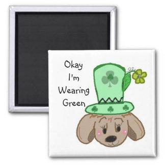 Autorización estoy llevando verde imán cuadrado