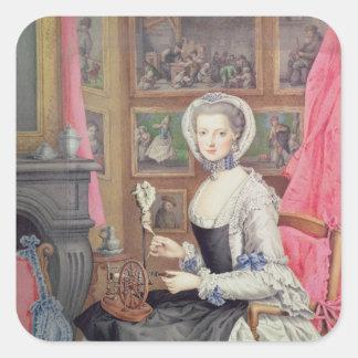 Autorretrato, 1776 pegatina cuadrada