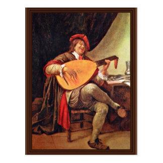Autorretrato como jugador del violín por Steen ene Tarjetas Postales