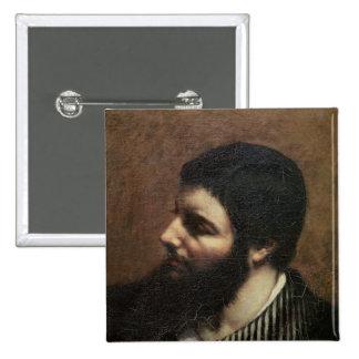 Autorretrato con el cuello rayado pin cuadrada 5 cm