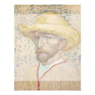 """Autorretrato con el gorra de paja de Vincent van Folleto 8.5"""" X 11"""""""