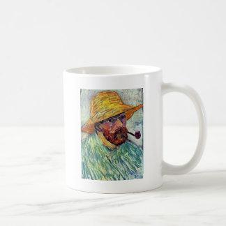 Autorretrato con el gorra de paja de Vincent van Taza Básica Blanca