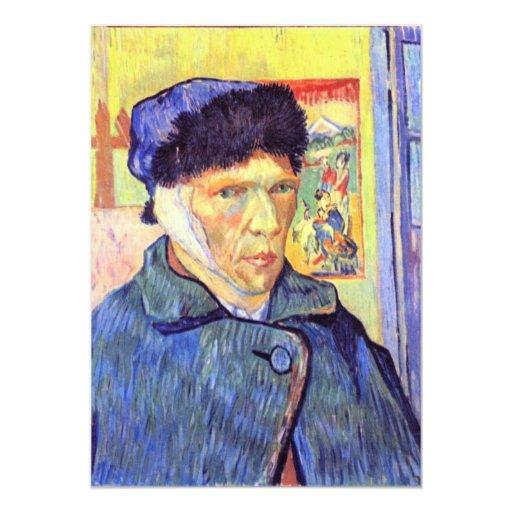 """Autorretrato con el oído cortado de Vincent van Invitación 5"""" X 7"""""""