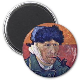 Autorretrato con el oído vendado de Vincent Van Go Imanes De Nevera