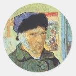 Autorretrato con el oído vendado; Vincent van Gogh Pegatina Redonda