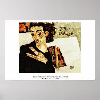 Autorretrato con el pote de arcilla negro de Schie Poster