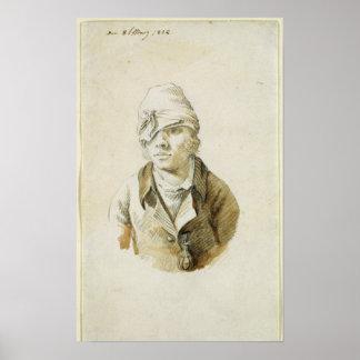 Autorretrato con el remiendo del casquillo y del o póster