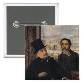 Autorretrato con Evariste de Valernes c.1865 Pin Cuadrada 5 Cm