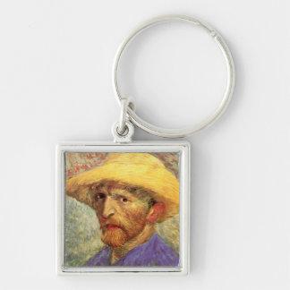 Autorretrato con la bella arte de Van Gogh del Llavero Cuadrado Plateado