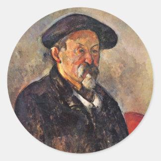 Autorretrato con la boina de Paul Cézanne Pegatina Redonda