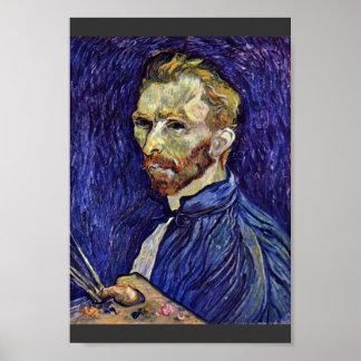 Autorretrato con la paleta de Vincent van Gogh Póster