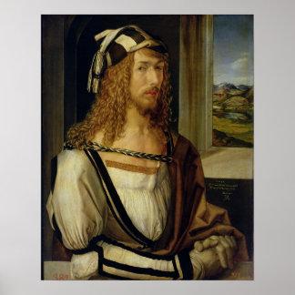 Autorretrato con los guantes, 1498 póster