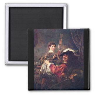 Autorretrato con Saskia de Rembrandt Imán Para Frigorifico