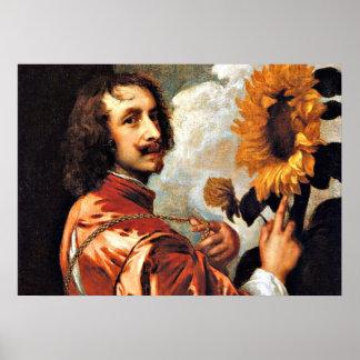 Autorretrato con un girasol, ilustraciones 1632 póster
