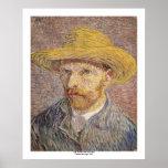 Autorretrato con un gorra de paja de Vincent van G Posters