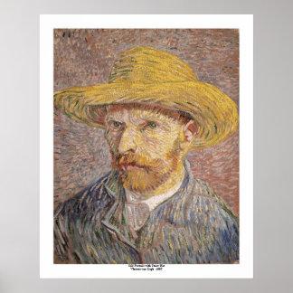 Autorretrato con un gorra de paja de Vincent van G Póster