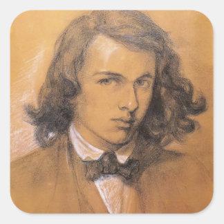 Autorretrato de Dante Gabriel Rossetti- Calcomanía Cuadrada