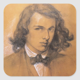 Autorretrato de Dante Gabriel Rossetti- Pegatina Cuadrada