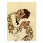 Autorretrato de Egon Schiele- con la camisa a cuad Postales